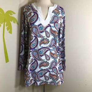 Lands' End Paisley Tunic Swim Top Rash Guard Small
